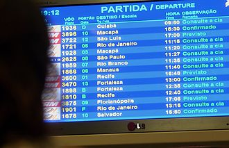 2006–07 Brazilian aviation crisis - FIDS at Brasília's Juscelino Kubitschek International Airport showing delayed flights  following an equipment failure at CINDACTA-I.