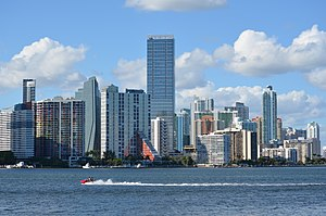 Brickell - Majority of Brickell skyline as seen from the Rickenbacker Causeway in 2012.