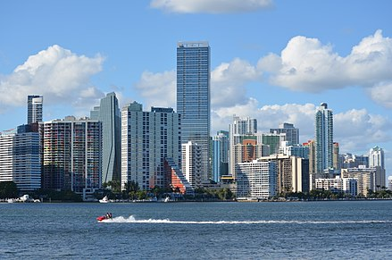 The Brickell Financial District in Miami contains the largest concentration of international banks in the United States. Brickell skyline 2012.jpg