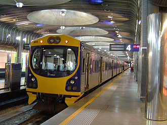 Britomart Transport Centre - Diesel-powered ADL class train at Britomart's Platform 4 in 2006.