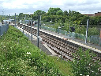 Brockley Whins Metro station - Platforms viewed from the nearby footbridge