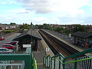 Brough station, Yorkshire, UK. Platform 1 is for trains north and east bound, platform 2 is for trains south and west bound