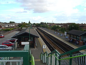 Double-track railway - Brough station, Yorkshire, UK. Platform 1 is for trains north and east bound, platform 2 is for trains south and west bound