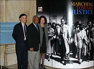 Brown v. Board of Education - U.S. circuit judges Robert A. Katzmann, Damon J. Keith, and Sonia Sotomayor at a 2004 exhibit on the Fourteenth Amendment, Thurgood Marshall, and Brown v. Board of Education