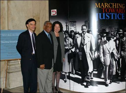 U.S. circuit judges Robert A. Katzmann, Damon J. Keith, and Sonia Sotomayor (later Associate Justice) at a 2004 exhibit on the Fourteenth Amendment, Thurgood Marshall, and Brown v. Board of Education Brown V. Board of Education Exhibit.jpg