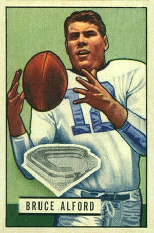 Bruce Alford Sr. - Alford on a 1951 Bowman football card