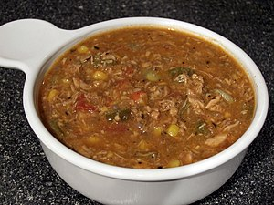 Brunswick stew made with chicken.