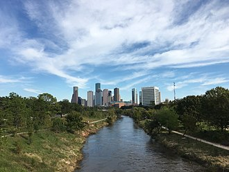 Buffalo Bayou - View of Buffalo Bayou looking east toward Downtown Houston from Rosemont Bridge in Buffalo Bayou Park