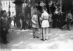 Deutschhaus Mainz - General Adolphe Guillaumat with the French flag in front of the building at the end of the Occupation of the Rhineland in June 1930