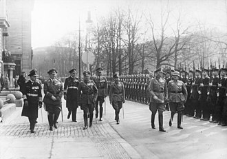 Organization of the Luftwaffe (1933–45) - War minister and OKW commander Blomberg followed by the three armed forces chiefs inspecting a parade in honor of Blomberg's birthday in 1937