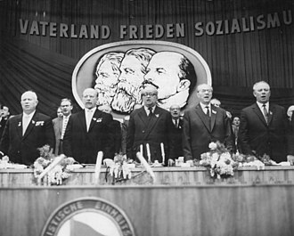 Soviet Union - Nikita Khrushchev, Nikolai Podgorny and Walter Ulbricht in Berlin, East Germany, 1963
