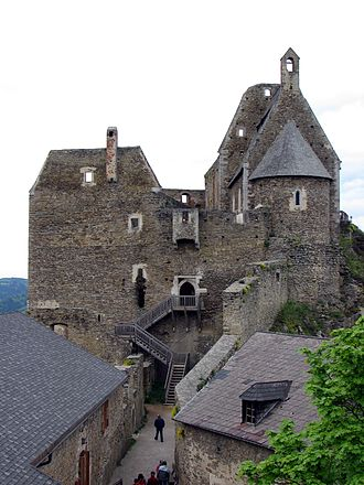 Elevated entrance - The inner ward of Aggstein Castle above the Danube