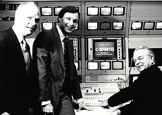 C-SPAN - Sen. Robert Byrd (right), C-SPAN's founder Brian Lamb (left) and Paul FitzPatrick flip the switch for C-SPAN2 on June 2, 1986. FitzPatrick was C-SPAN president at the time.