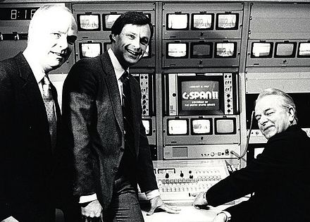 Sen. Robert Byrd (right), C-SPAN's founder Brian Lamb (left) and Paul FitzPatrick flip the switch for C-SPAN2 on June 2, 1986. FitzPatrick was C-SPAN president at the time. C-SPAN Robert Byrd.jpg