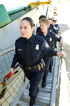 Boarding (transport) - Image: CBP female officers going aboard a ship
