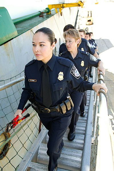 File:CBP female officers going aboard a ship.jpg