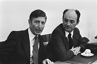 Willem Aantjes - Parliamentary leader of the Christian Democratic Appeal Dries van Agt and Member of the House of Representatives Willem Aantjes on 26 August 1977.