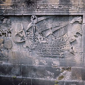 Outrigger - Relief of Borobudur Temple (8th century AD) in Central Java, Indonesia, showing a ship with outrigger