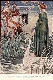 CRANE King Arthur asks the lady of the lake for the sword Excalibur.jpg