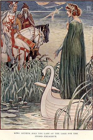 Lady of the Lake - King Arthur asks the Lady of the Lake for the sword Excalibur in Walter Crane's 1911 illustration from Henry Gilbert's King Arthur's Knights: The Tales Retold for Boys and Girls