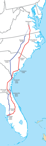 "Map of CSX's ""A"" and ""S"" lines, inherited from predecessors ACL and SAL, respectively."