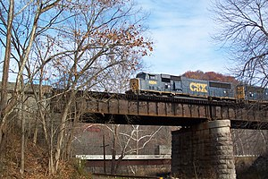 Jackson River (Virginia) - A CSX freight train crosses the Jackson River near Covington.