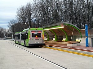 CTfastrak - A 62ft CTfastrak bus on route 101 at Cedar Street