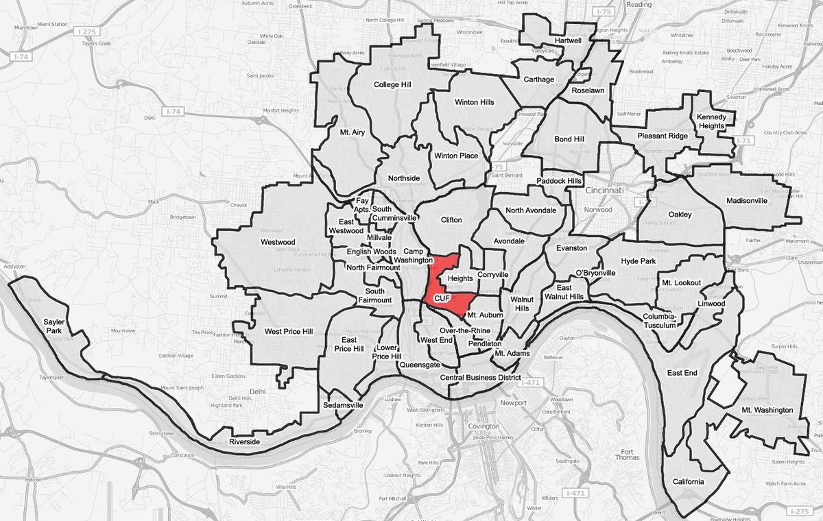 CUF Cincinnati Wikipedia - Cincinnati on us map