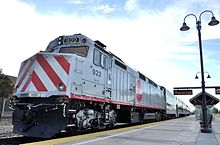 An image of Caltrain's current diesel locomotive, an EMD F40PH model.
