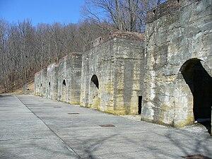 Canoe Creek State Park - Abandoned Blair Limestone Company limekilns at Canoe Creek State Park