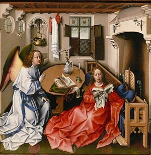 The Magdalen Reading - Annunciation, attributed to Robert Campin, Brussels, c. 1420–1440, where the figure of the Virgin is close to van der Weyden's London Magdalen.