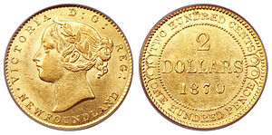 Newfoundland 2 dollar coin - Image: Canada Newfoundland Victoria gold 2 Dollars 1870