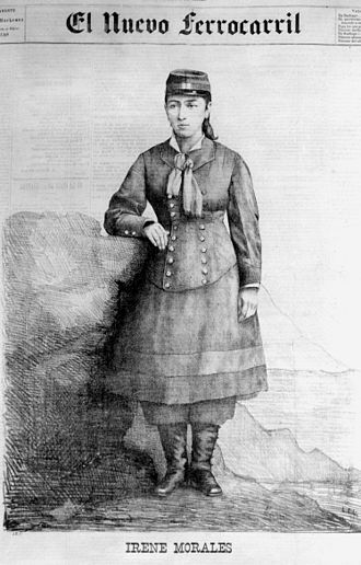 Irene Morales - An engraving of Morales from Vicuña Mackenna's newspaper El Nuevo Ferrocarril (1881)