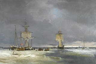 The Corvette Valkyrien being tugged by the steamer Herta out of Copenhagen (1848)