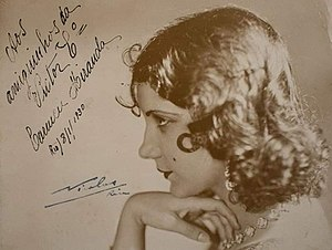 Autographed photo of Miranda in profile