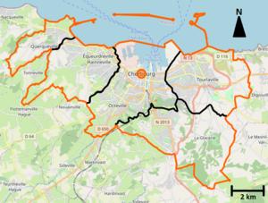 Cherbourg-en-Cotentin et ses communes déléguées.