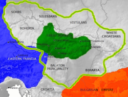 Central Europe in the 9th century. Eastern Francia in blue, Bulgaria in orange, Great Moravia under Rastislav (870) in green. The green line marks the borders of Great Moravia under Svatopluk I (894). Note that some of the borders of Great Moravia are under debate