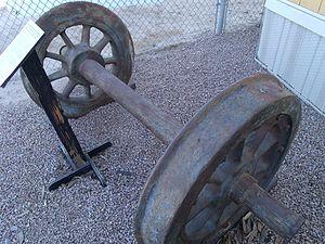 Train wreck - Image: Chandler Arizona Railroad museum Engine Tender Wheels 1907