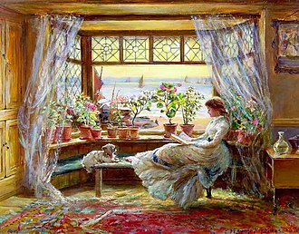 Charles James Lewis - Reading by the window by Charles James Lewis