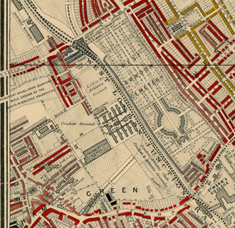 "Lillie Bridge Grounds - Location of the Lillie Bridge Athletic Ground, adjacent to the railway line close to West Brompton station. (Click to enlarge). The then newly opened Stamford Bridge can be seen a little to the south (""London Athletics Club""). Detail from Charles Booth's 1889 descriptive map of London."