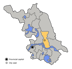 Taizhou's administrative area is highlighted on this map