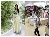 Seorang wanita Tionghoa mengenakan pakaian tradisional (kiri) dan seorang wanita membeli pakaian modern (kanan). Pemandangan yang kontras mengingat globalisasi telah berpengaruh terhadap wanita Tionghoa dalam busana dan budaya.