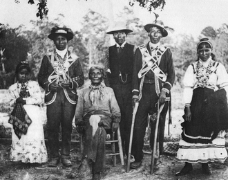 Choctaw mythology - Mississippi Choctaws in traditional clothing, ca. 1908