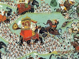 Chetak - Chokha of Devgarh, Battle of Haldighati, painted 1822; detail, showing the attack by Pratap, mounted on Chetak, on the leader of the Mughal forces, Man Singh of Amber, in a howdah on an elephant