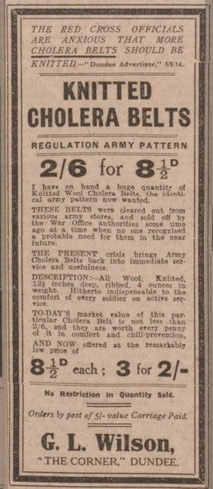 Cholera belt - 1914 advertisement