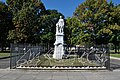 Christopher Columbus Monument and Railing Sculpture of Nina Pinta and Santa Maria in Marconi Plaza.jpg