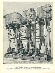 1890s vintage triple-expansion (three cylinders of 26, 42 and 70 inch diameters in a common frame with a 42 inch stroke) marine engine that powered the SS Christopher Columbus