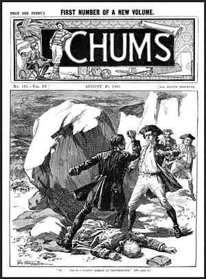 Chums (paper) - The front page from Chums for 28 August 1895.