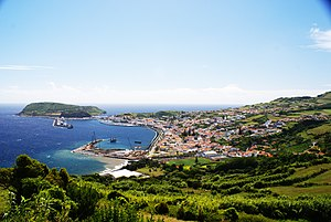 Horta, Azores - The City of Horta and Horta Bay, as seen from Espalamaca, showing the marina, the old dock, and volcanic cones, Monte Escuro and Monte da Guia