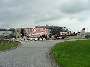 Hurricane Cindy (2005) - Collapsed building at the Atlanta Motor Speedway as a result of a tornado spawned by Cindy.
